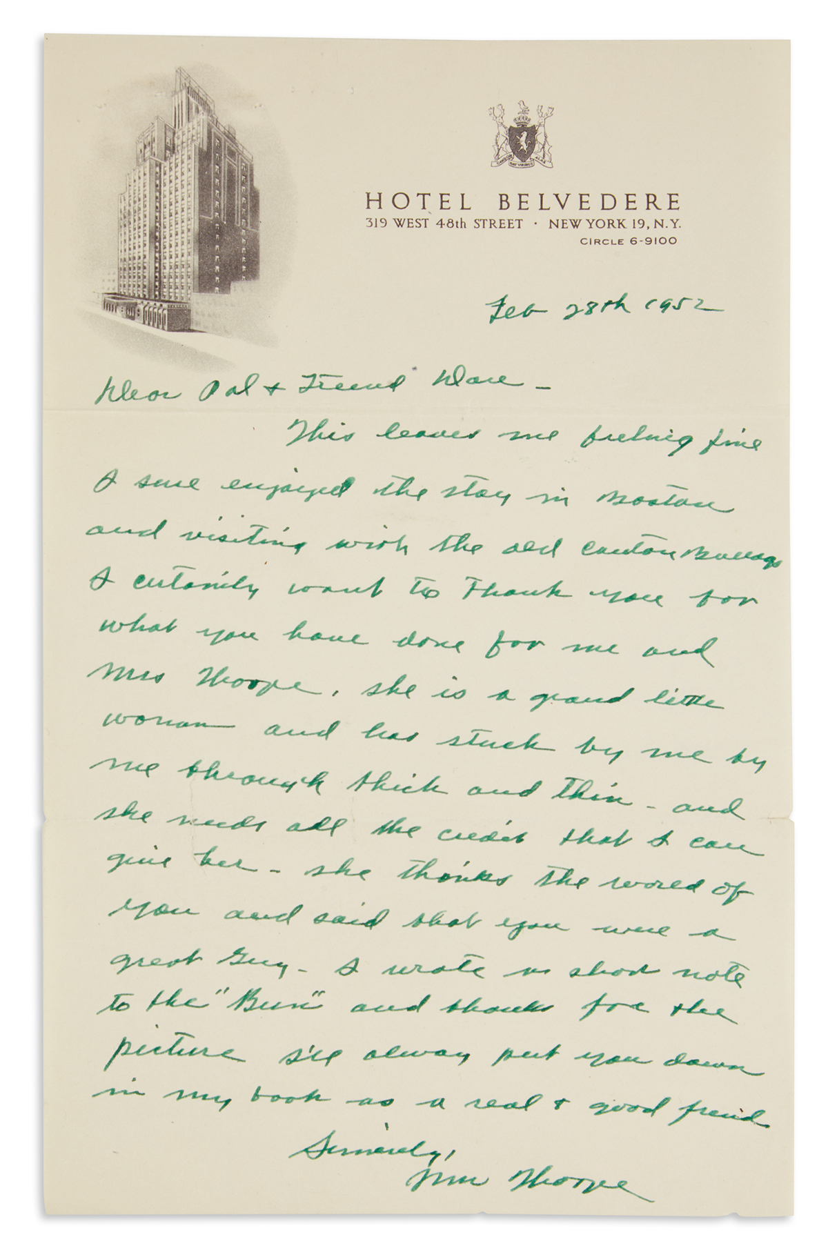 THORPE, JIM. Autograph Letter Signed, to Daniel G. OConnor, in green ink,