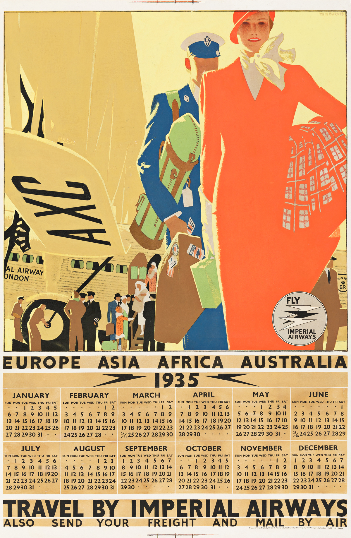 Tom Purvis (1888-1959).  TRAVEL BY IMPERIAL AIRWAYS. 1934.