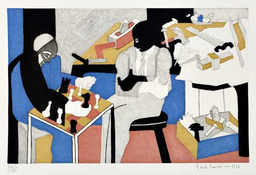 JACOB-LAWRENCE-(1917---2000)-Two-Builders-Playing-Chess