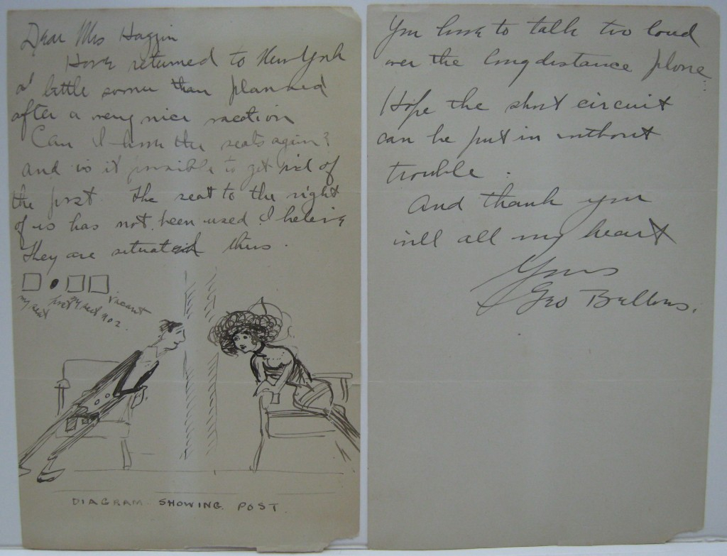 BELLOWS, GEORGE WESLEY. Autograph Letter Signed, Geo Bellows, illustrated with small ink drawing, to Dear Mrs. Haggin,