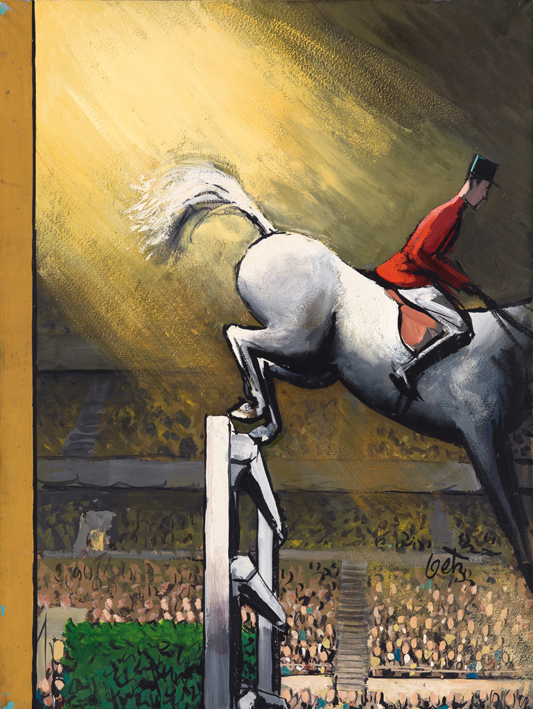 (THE NEW YORKER) ARTHUR GETZ. 57 Horse Show / Jumping Hurdle.