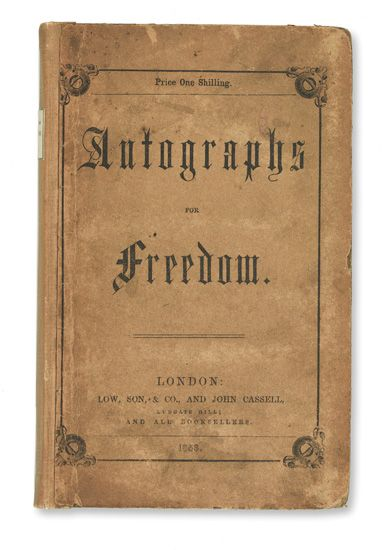 (SLAVERY AND ABOLITION.) DOUGLASS, FREDERICK. The Heroic Slave [in] Autographs for Freedom, Edited by Julia Griffiths.