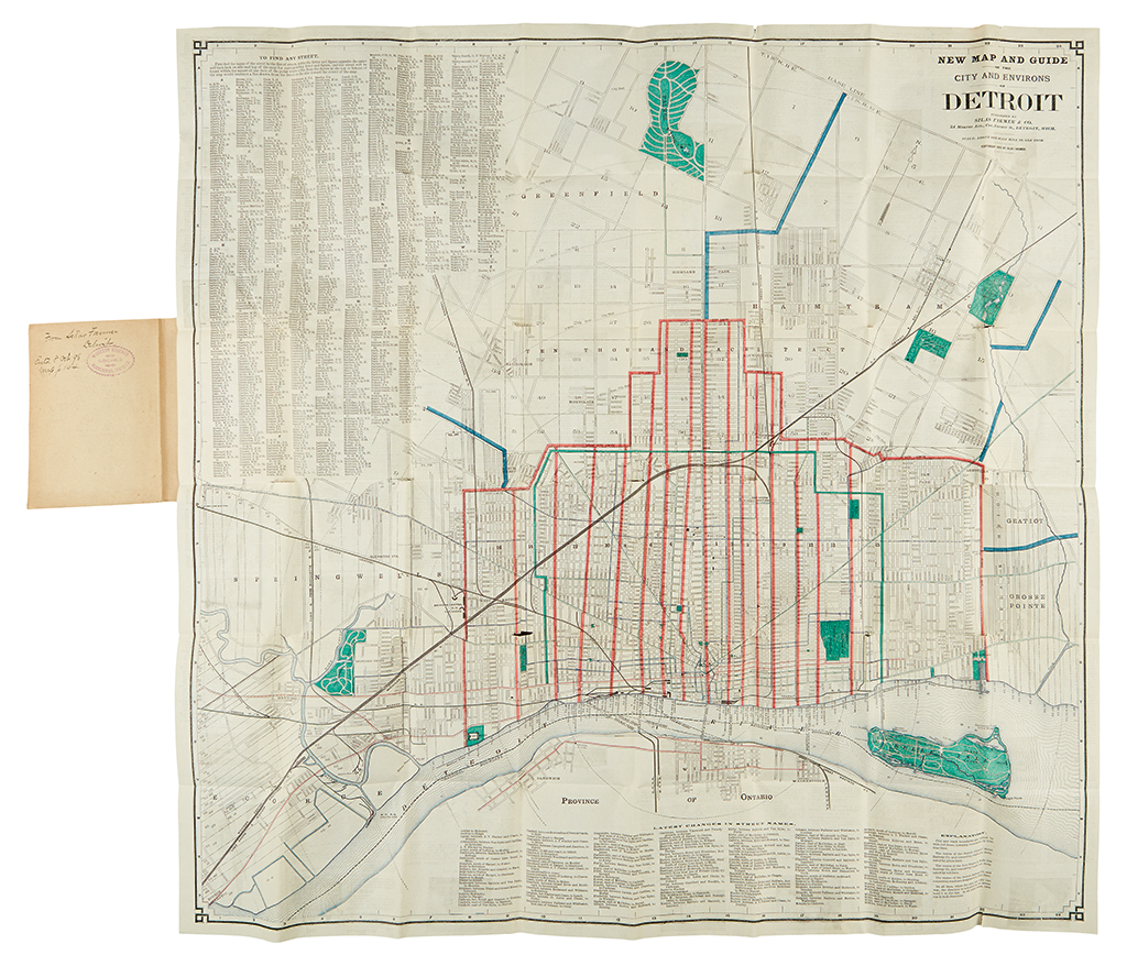 (DETROIT.) Farmer, Silas. New Map and Guide of the City and Environs of Detroit.