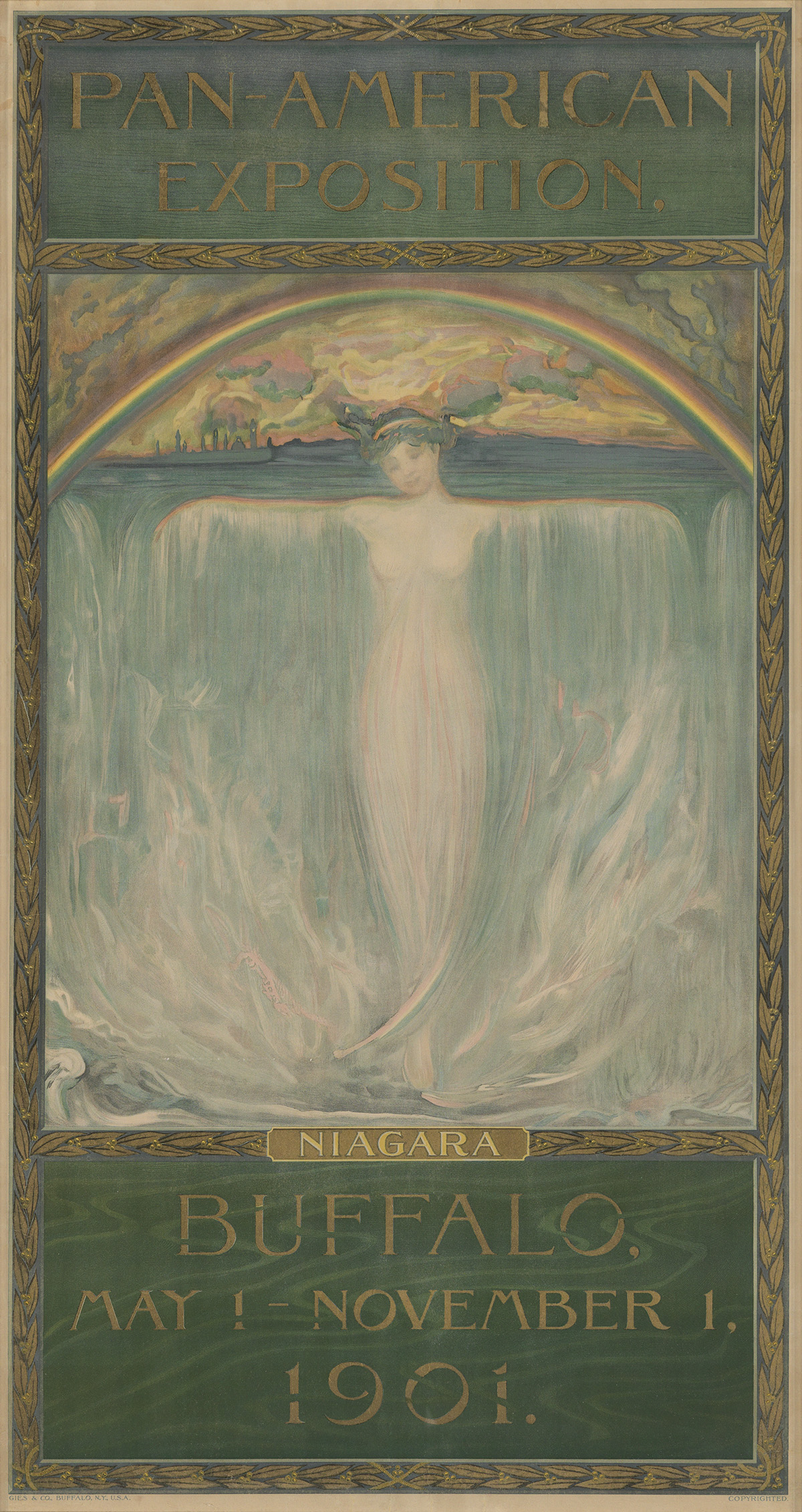 EVELYN RUMSEY CARY (1855-1924). PAN - AMERICAN EXPOSITION / NIAGARA. 1901. 48x25 inches, 122x67 cm. Gies & Co., Buffalo.