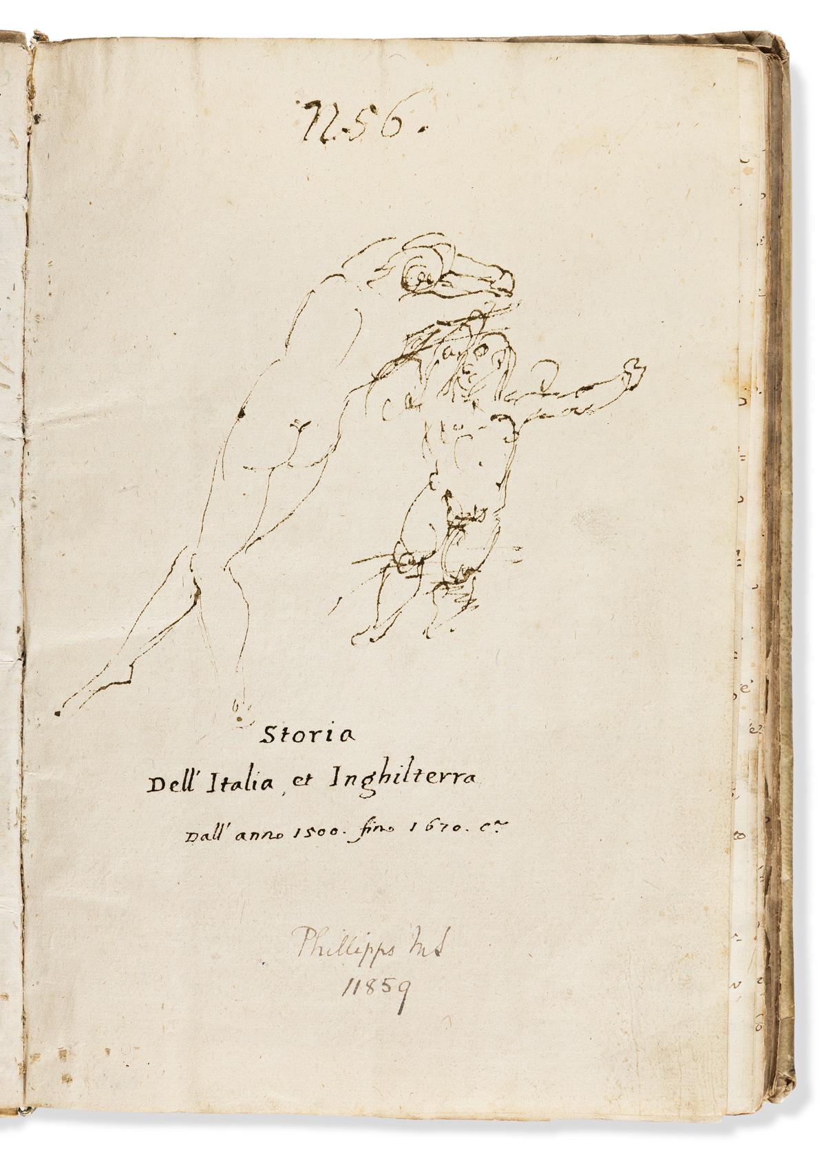 Manuscript on Paper. Storia dell Italia et Inghilterra dalla 1500 fino 1670.