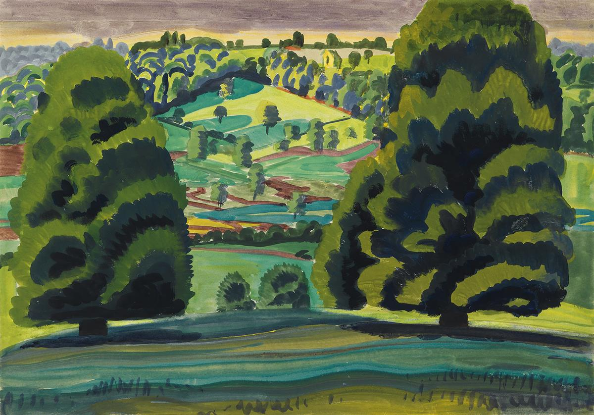 CHARLES-BURCHFIELD-Summer-Landscape-(Trees-on-a-Hill)