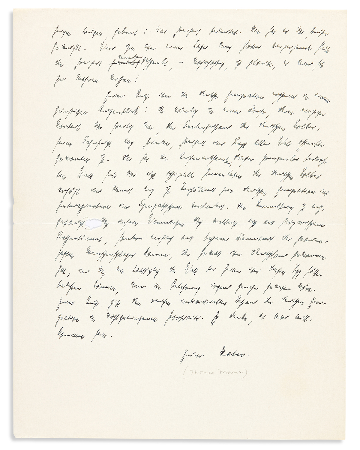 MANN, THOMAS. Autograph Letter Signed, Your Father, to Erika and Klaus Mann (Dear Children), in German,