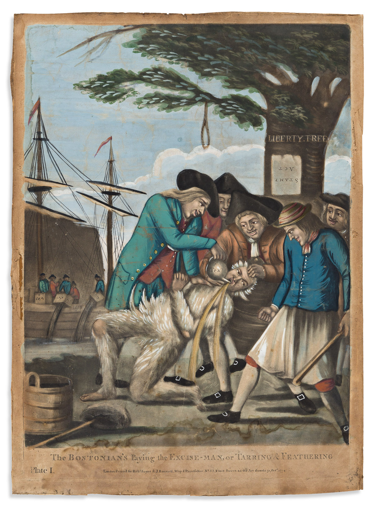 (AMERICAN REVOLUTION--PRELUDE.) [Philip Dawe, artist.] Bostonians Paying the Excise Man, or Tarring & Feathering.