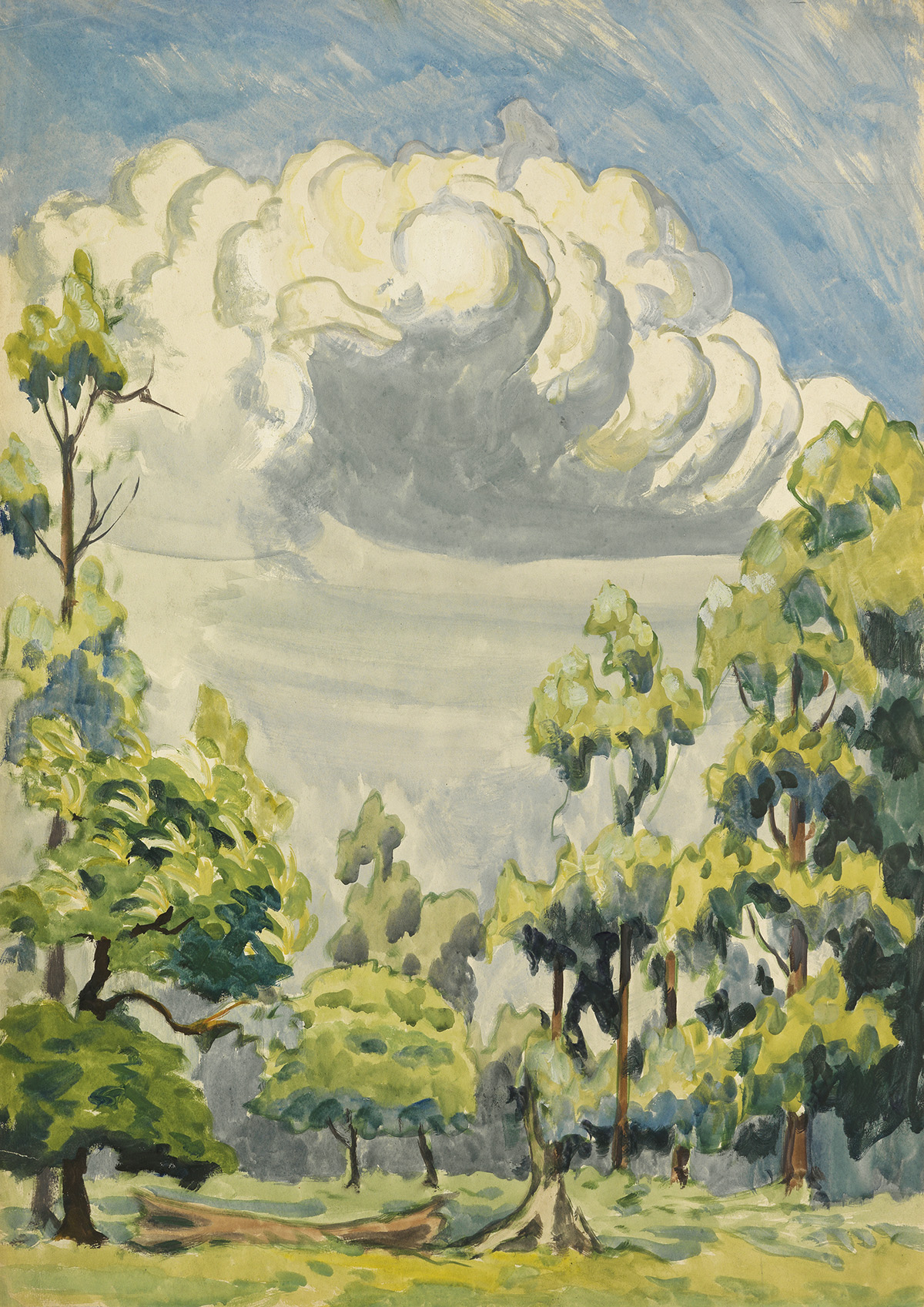 CHARLES-BURCHFIELD-Clouds-and-Trees-under-Blue-Skies