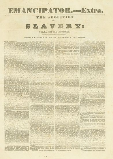(SLAVERY AND ABOLITION.) NEW ENGLAND ANTI-SLAVERY SOCIETY. Emancipator.-- Extra. The Abolition of Slavery:A Plea for the Oppressed.