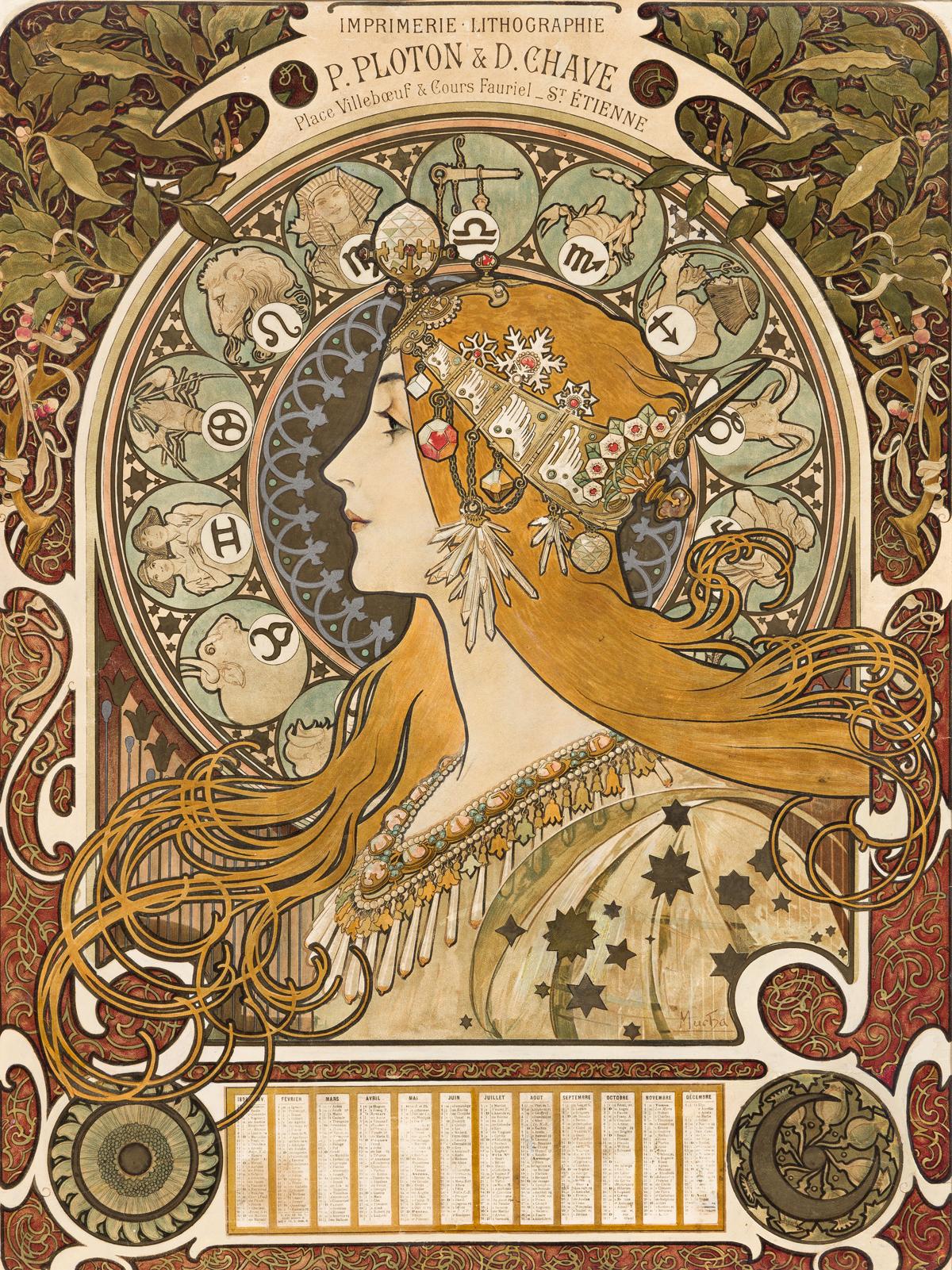 ALPHONSE MUCHA (1860-1939).  [ZODIAC / P. PLOTON & D. CHAVE.] 1898. 24x18 inches, 61x45 cm. [F. Champenois, Paris.]