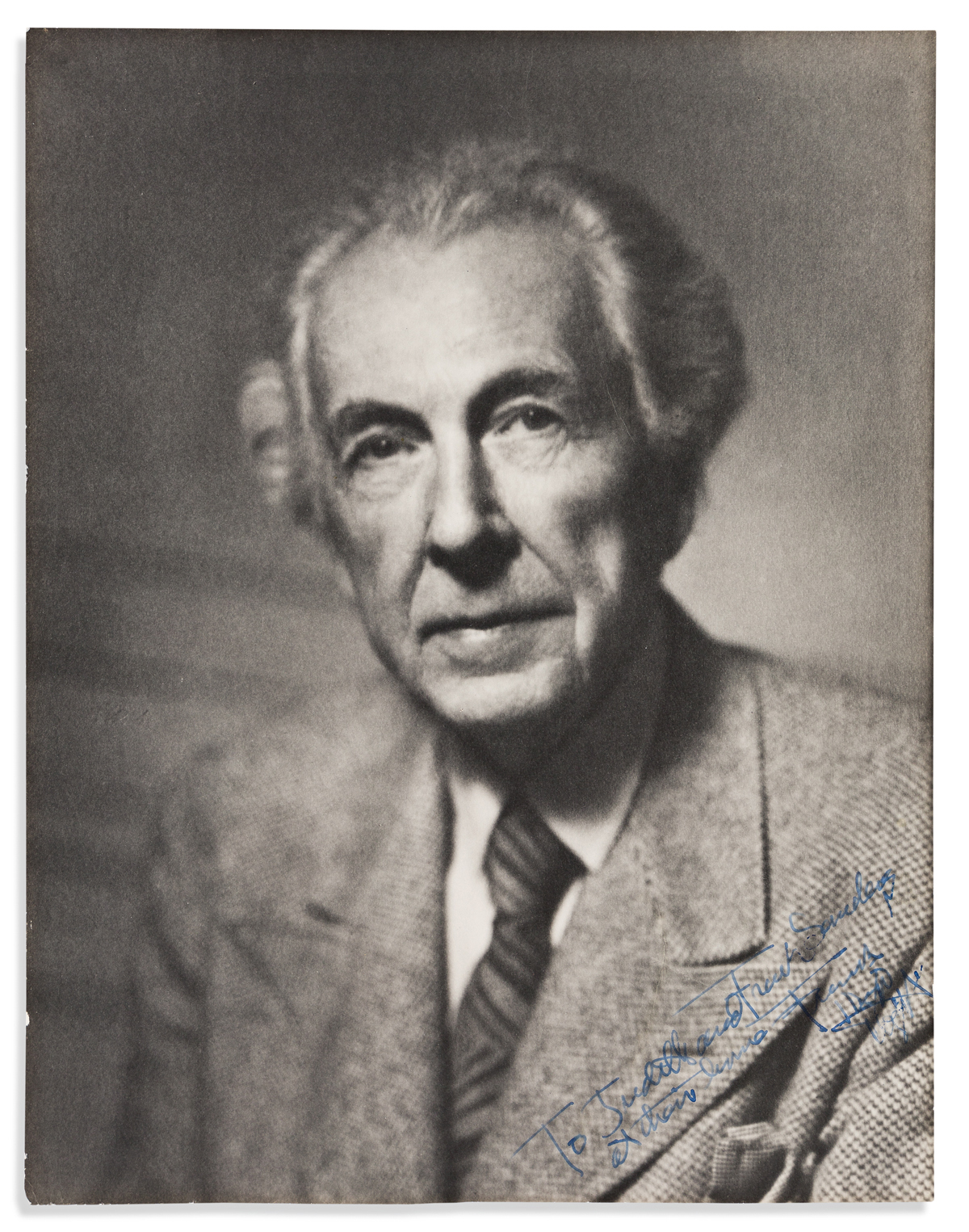 WRIGHT, FRANK LLOYD. Photograph Signed and Inscribed, To Judith and Frank Sanders / at their home / Frank / Lloyd / Wright,