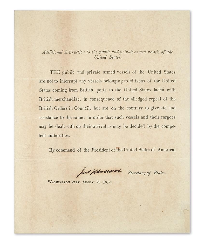 MONROE, JAMES. Printed Document Signed, Jas Monroe, as Secretary of State,