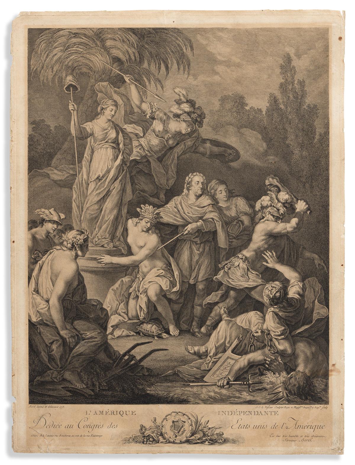 (AMERICAN REVOLUTION--1778.) Vasseur, engraver; after Borel. L'Amérique Indépendante, Dédiée au Congrés des Etats Unis de lAmérique.