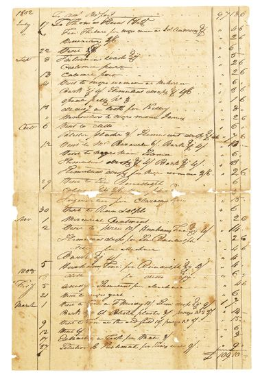 (SLAVERY AND ABOLITION.) Manuscript document. William Patillos bill for the treatment of Colonel Burwells Negroes.