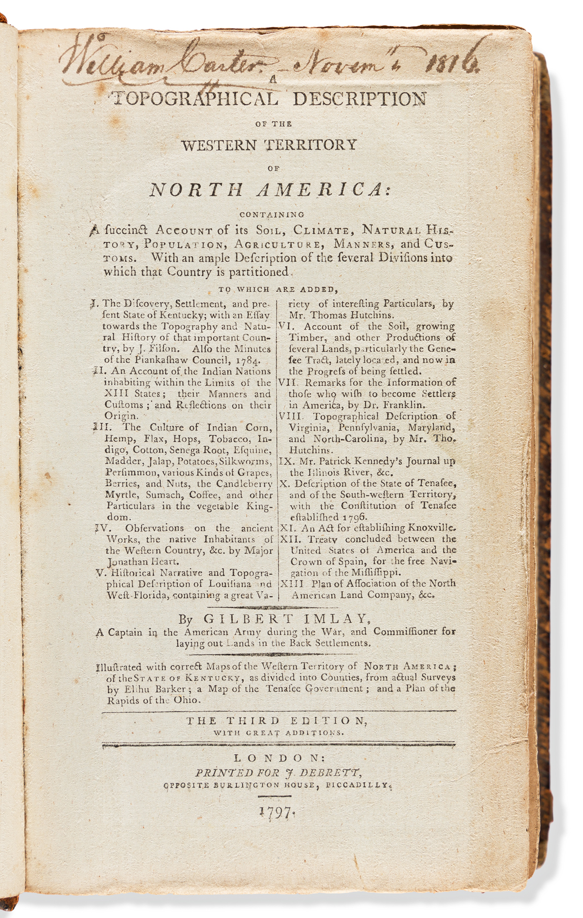 Imlay, Gilbert (1754-1828) A Topographical Description of the Western Territory of North America.
