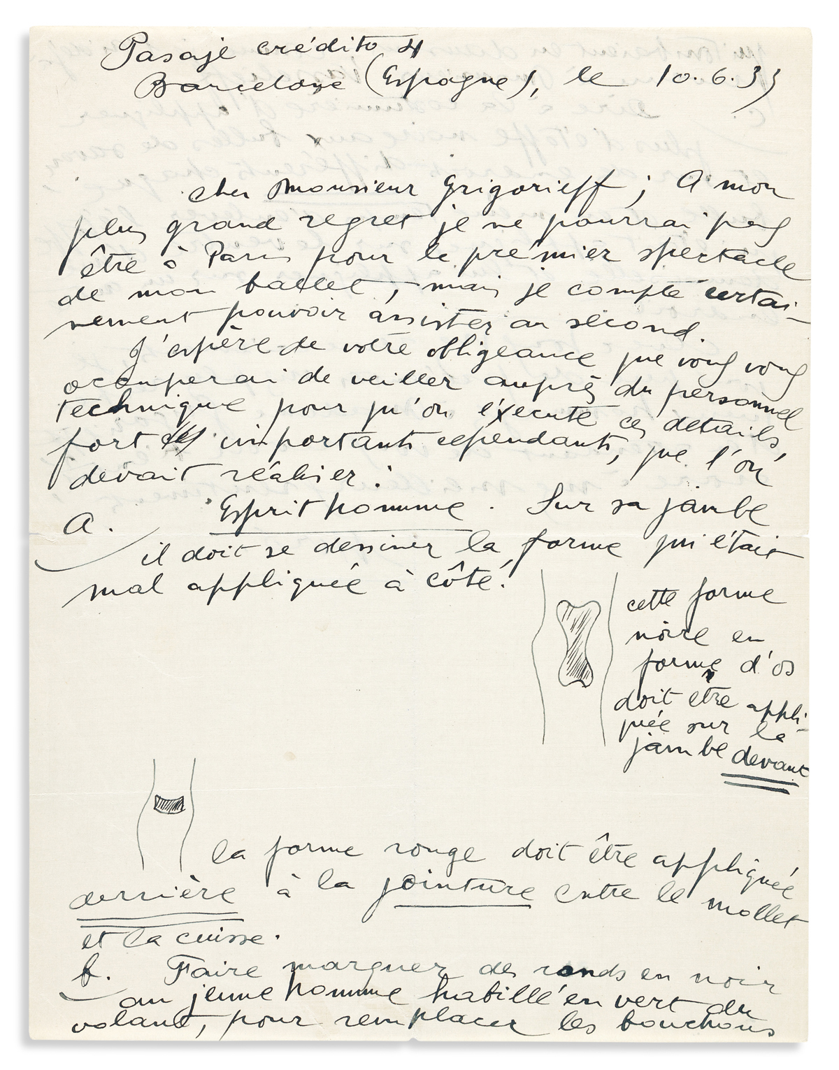 """MIRÓ, JOAN. Autograph Letter Signed, """"Miró,"""" to Ballets Russes director Serge Grigoriev, with two small ink drawings."""