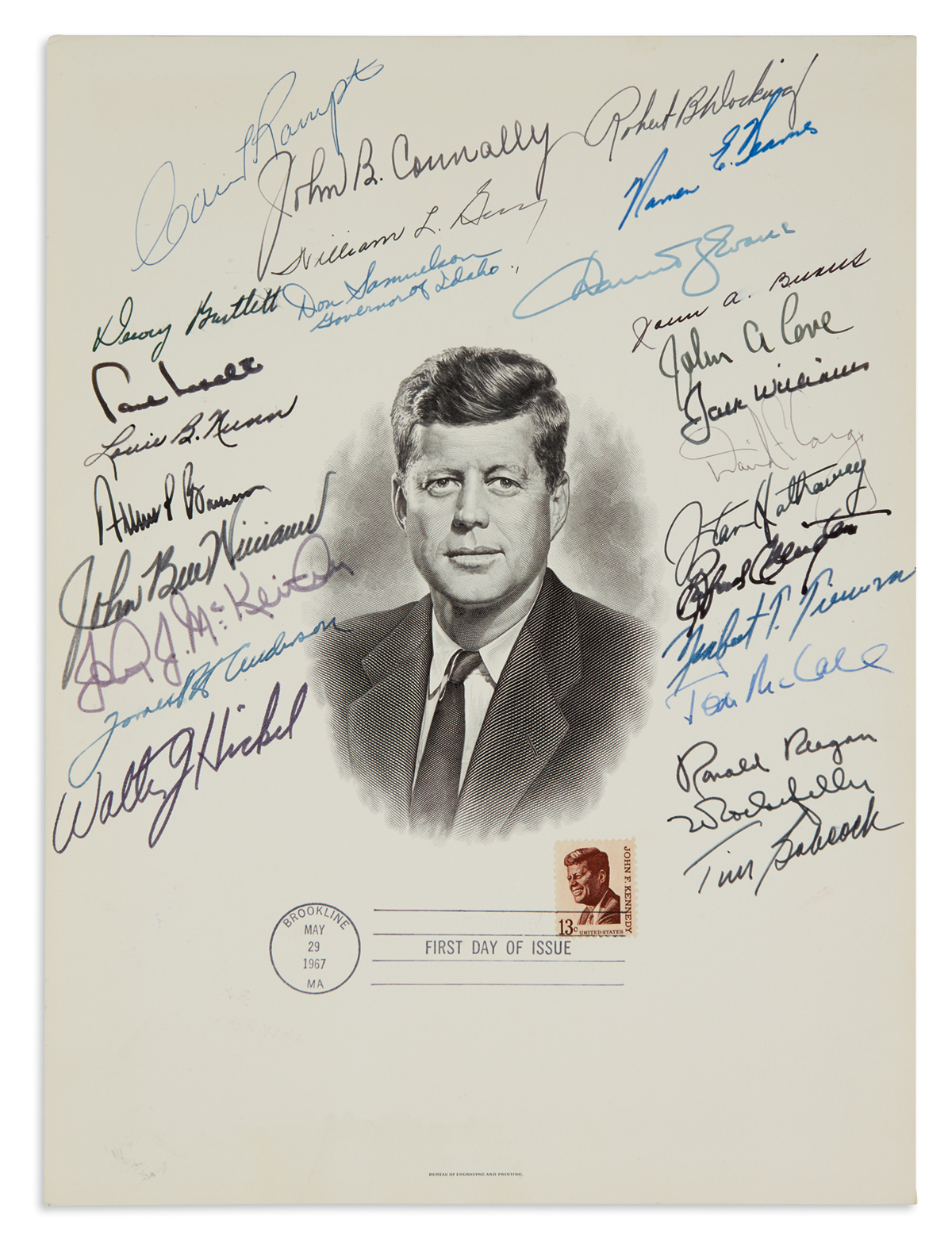 (GOVERNORS.) REAGAN, RONALD. Engraved bust portrait of John F. Kennedy Signed by Reagan and 24 State Governors or Lieutenant Governors.