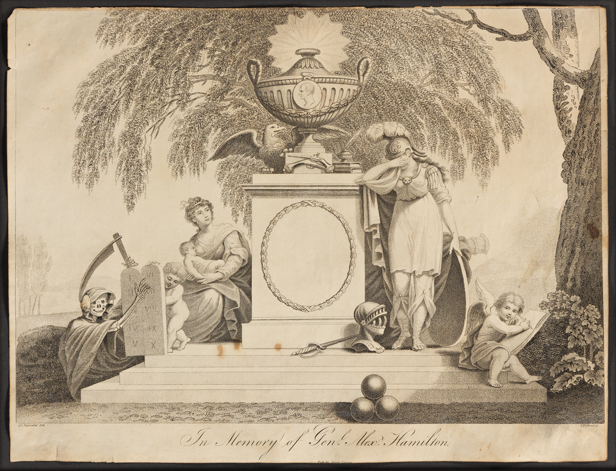 (FOUNDING FATHERS.) Cornelius Tiebout, engraver; after Barralet In Memory of Genl Alexr Hamilton.