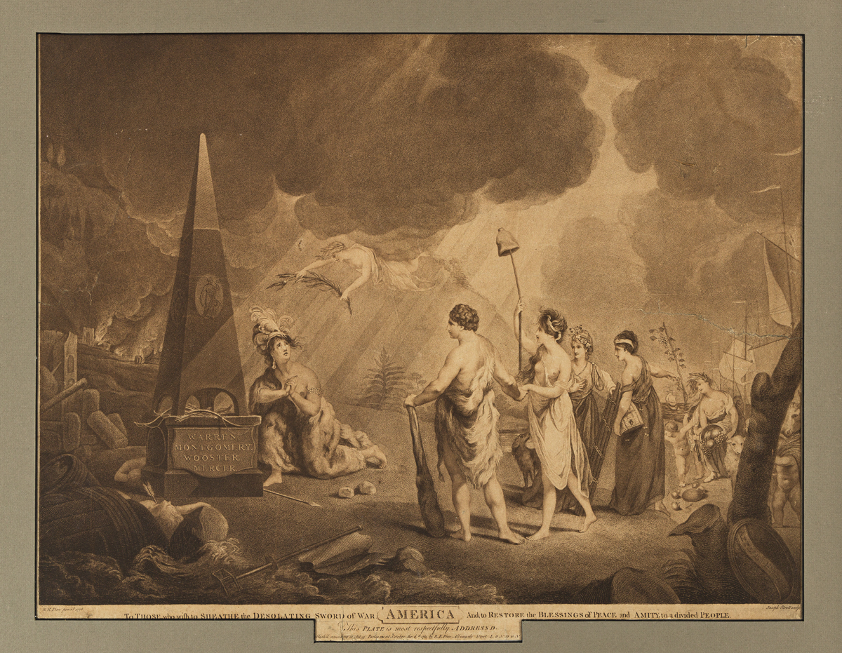 (AMERICAN REVOLUTION--1781.) Strutt, engraver; after Pine. To Those who Wish to Sheathe the Desolating Sword of War--America--