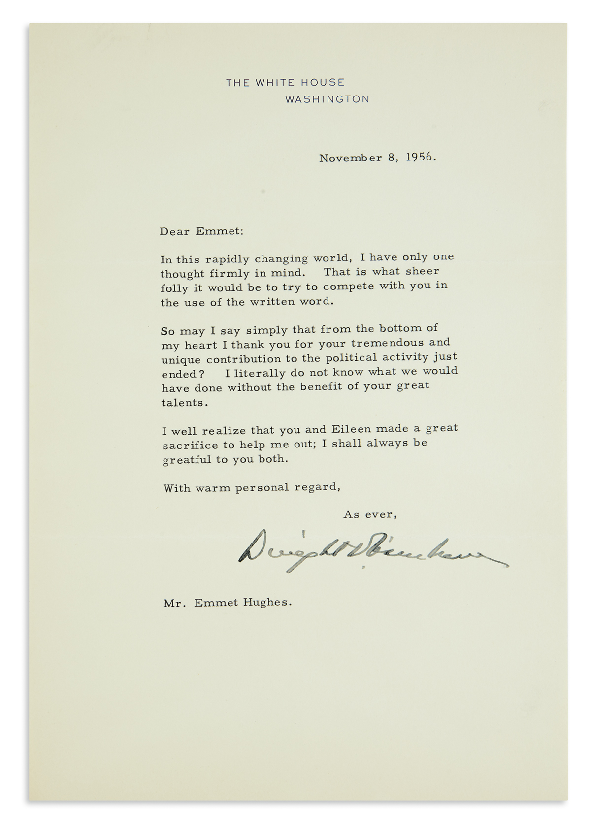 TO-HIS-SPEECHWRITER-DWIGHT-D-EISENHOWER-Group-of-12-typed-le