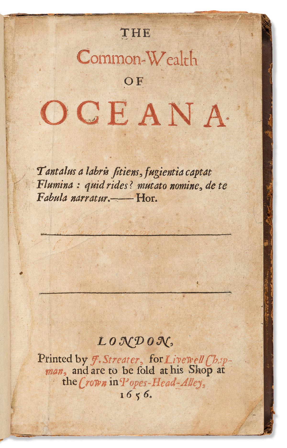 Harrington, Sir James (1611-1677) The Common-Wealth of Oceana.