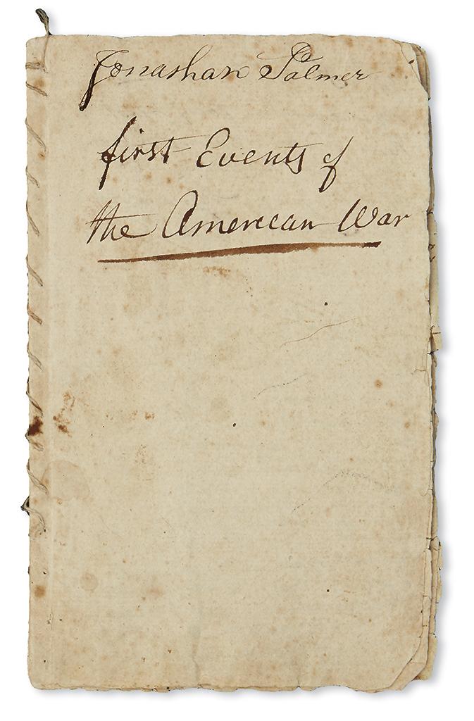 (AMERICAN REVOLUTION--1775.) Palmer, Jonathan. Manuscript diary and memorandum book titled First Events of the American War.