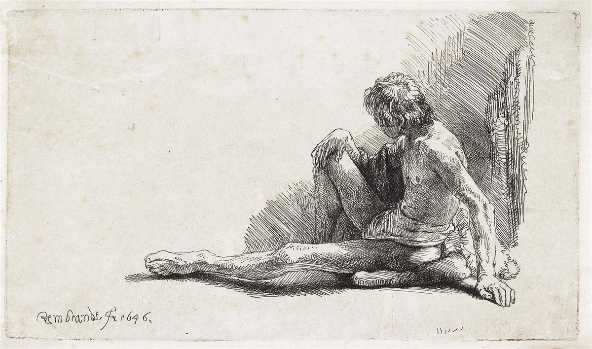 REMBRANDT-VAN-RIJN-Nude-Man-Seated-on-the-Ground-with-One-Le
