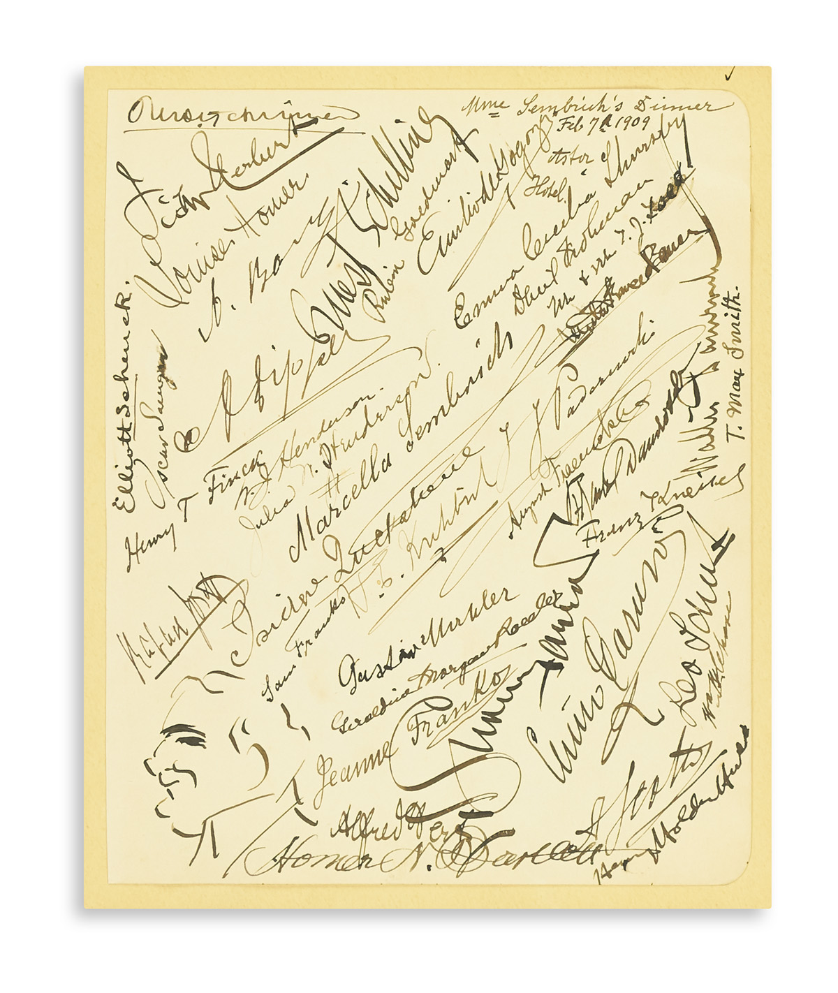 (MUSICIANS.) SEMBRICH, MARCELLA. Over 40 Signatures by musicians and others gathered to celebrate Sembrichs retirement