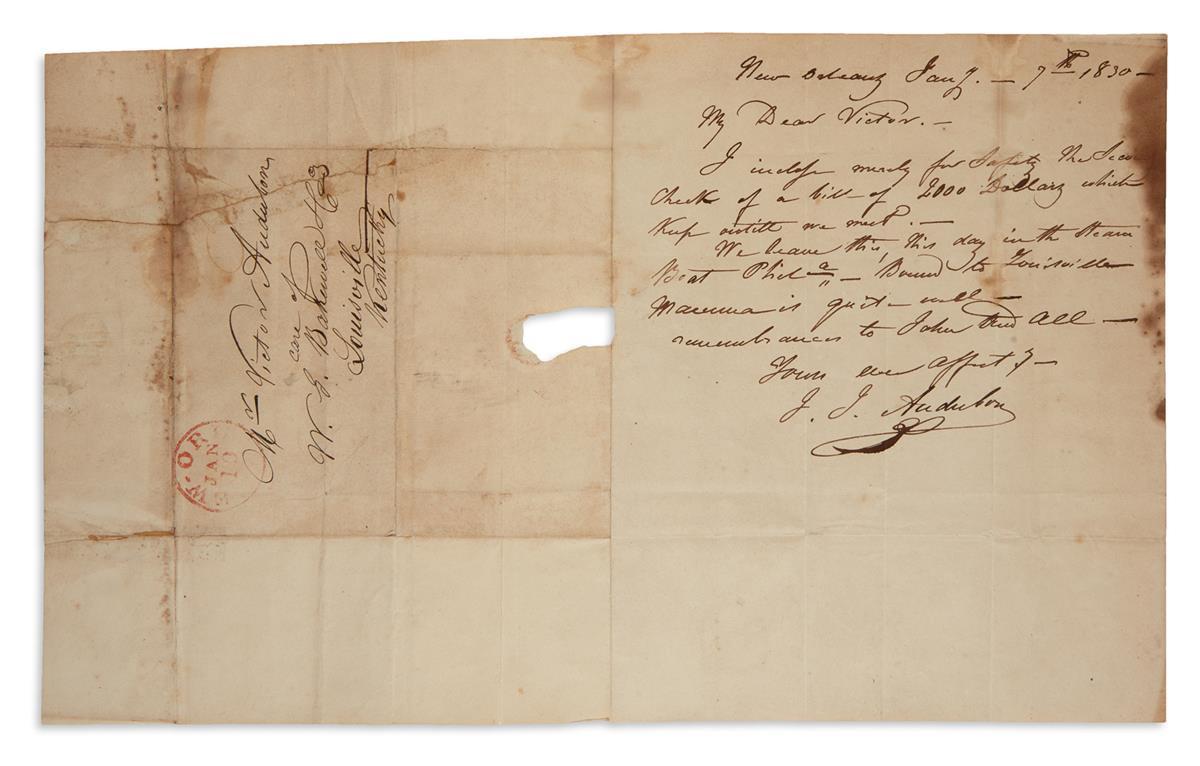 JOHN JAMES AUDUBON. Autograph Letter Signed, Your ever affectionate / J.J. Audubon, to his eldest son Victor, ...