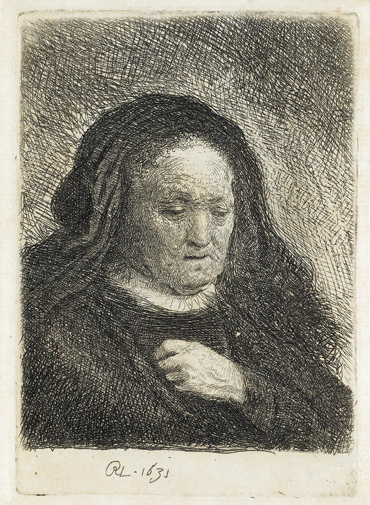 REMBRANDT-VAN-RIJN-The-Artists-Mother-with-her-Hand-on-her-C