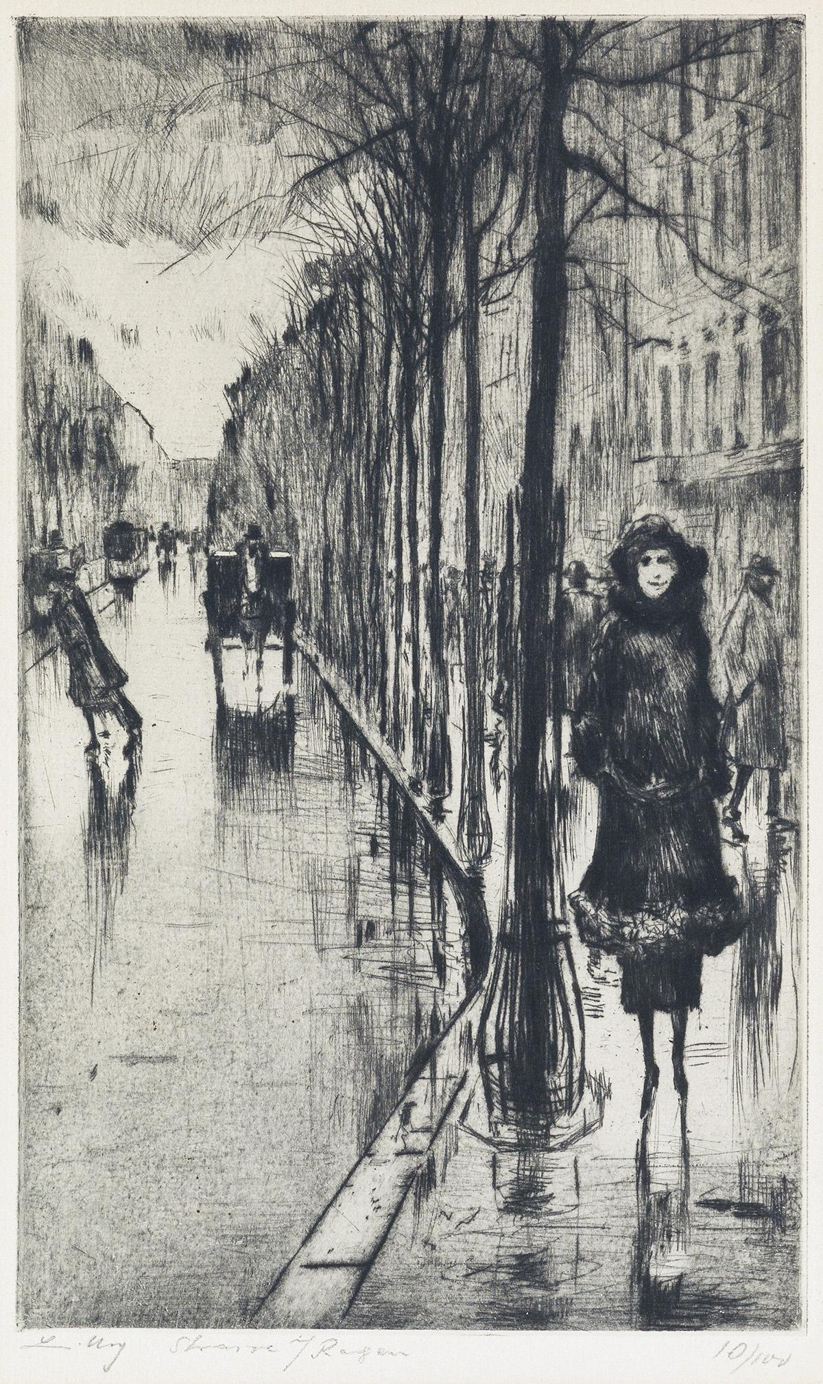 LESSER-URY-Spaziergänger-im-Regen