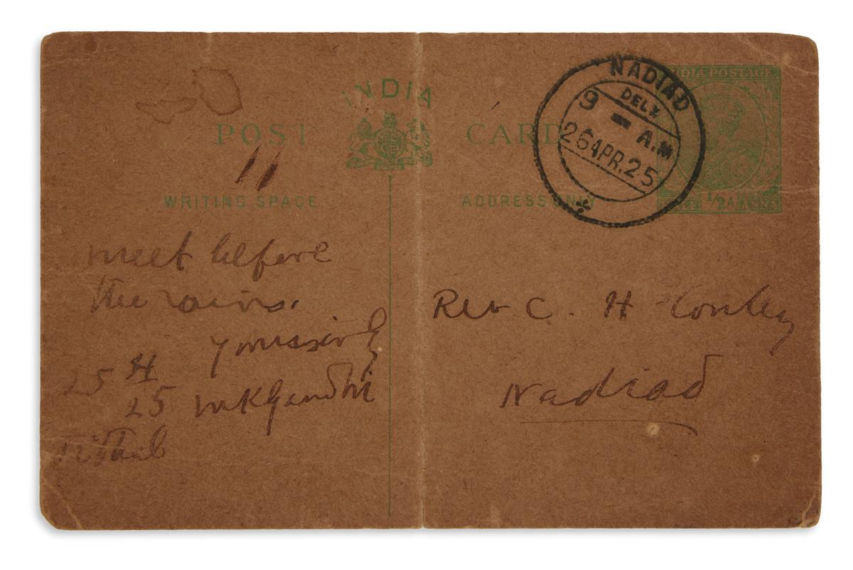 GANDHI, MOHANDAS K. Autograph Note Signed, MKGandhi, on postcard, to Reverend C.H. Conley,