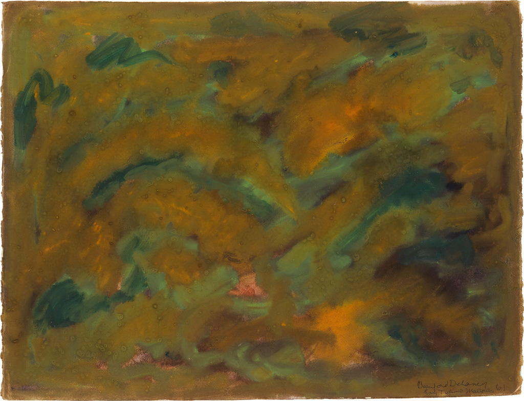 BEAUFORD DELANEY (1901 - 1979) Untitled (Abstract in Mustard Yellow and Gray Green, Mallorca).