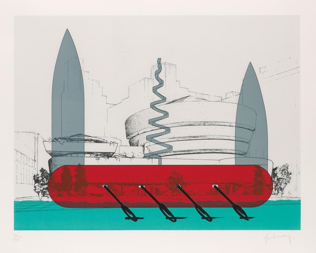 CLAES OLDENBURG Knife Ship Superimposed on the Solomon R. Guggenheim Museum.