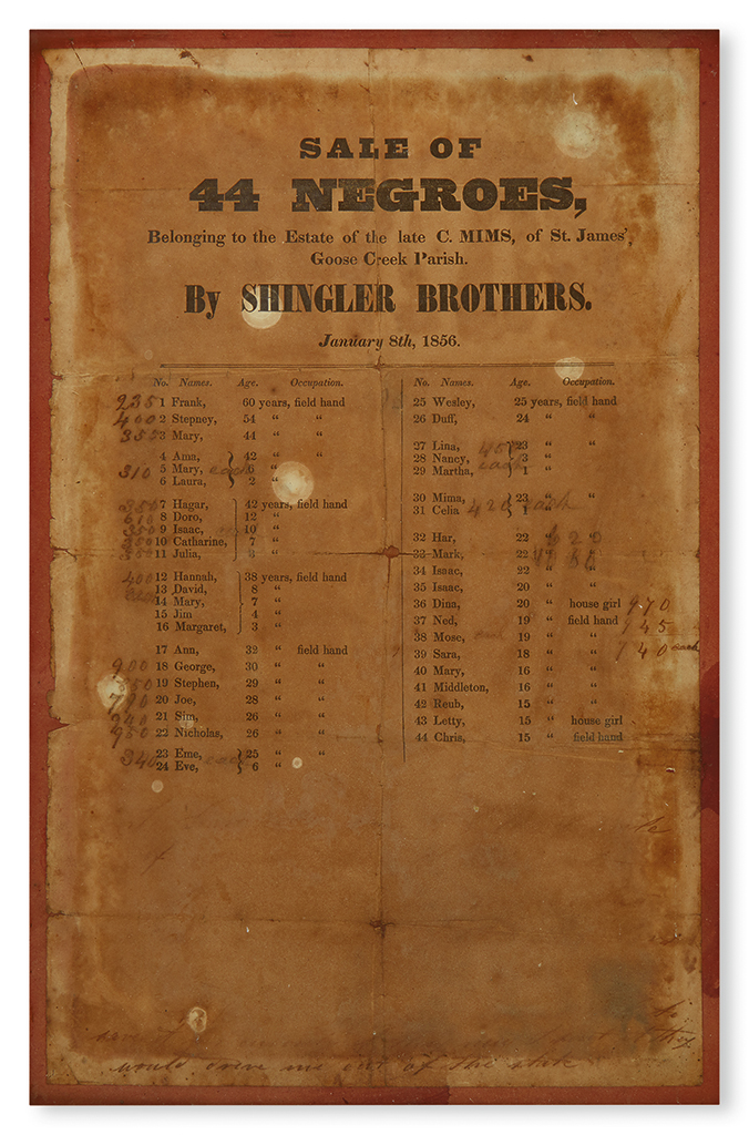 (SLAVERY AND ABOLITION). SOUTH CAROLINA. Sale of 44 Negroes Belonging to the Estate of the Late C. Mims of St James Goose Creek Parish.