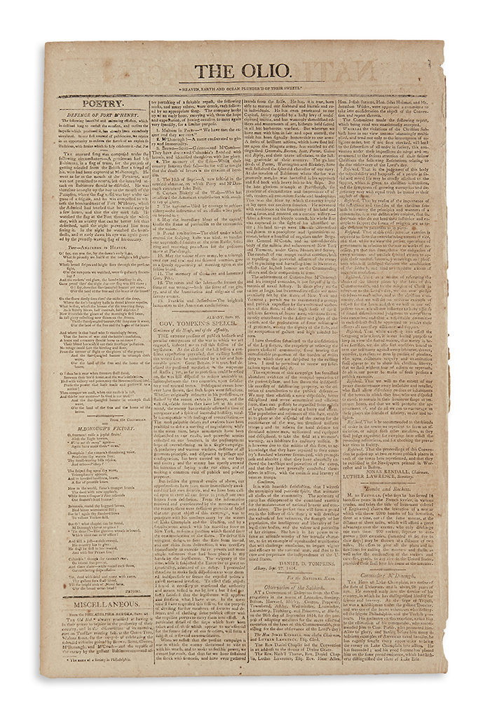 (WAR OF 1812.) [Key, Francis Scott.] Newspaper printing of Defence of Fort McHenry (the Star-Spangled Banner) in the National Aegis.