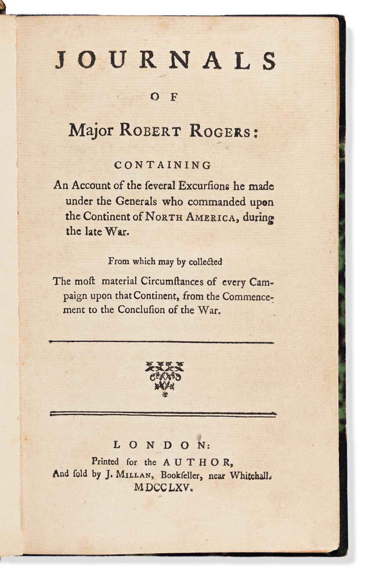 Rogers, Robert, Major (1731-1795) Journals of Major Robert Rogers.