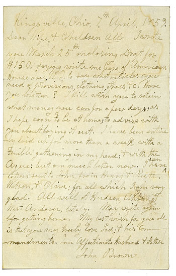 (SLAVERY AND ABOLITION.) BROWN, JOHN OF OSOWATOMIE. Autograph Letter Signed, 7 April, 1859.