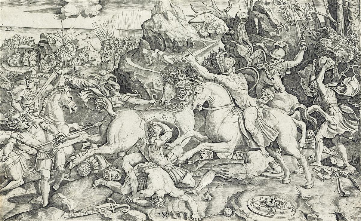 MARCO DENTE (after Raphael) The Battle of the Reluctant Horse