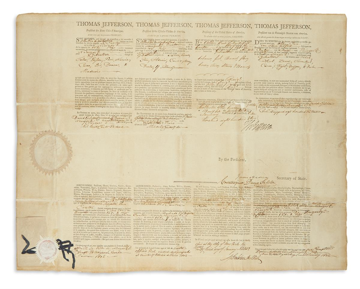 JEFFERSON, THOMAS. Partly-printed Document Signed, Th: Jefferson, as President, 4-language ships papers for the brigantine The Canto