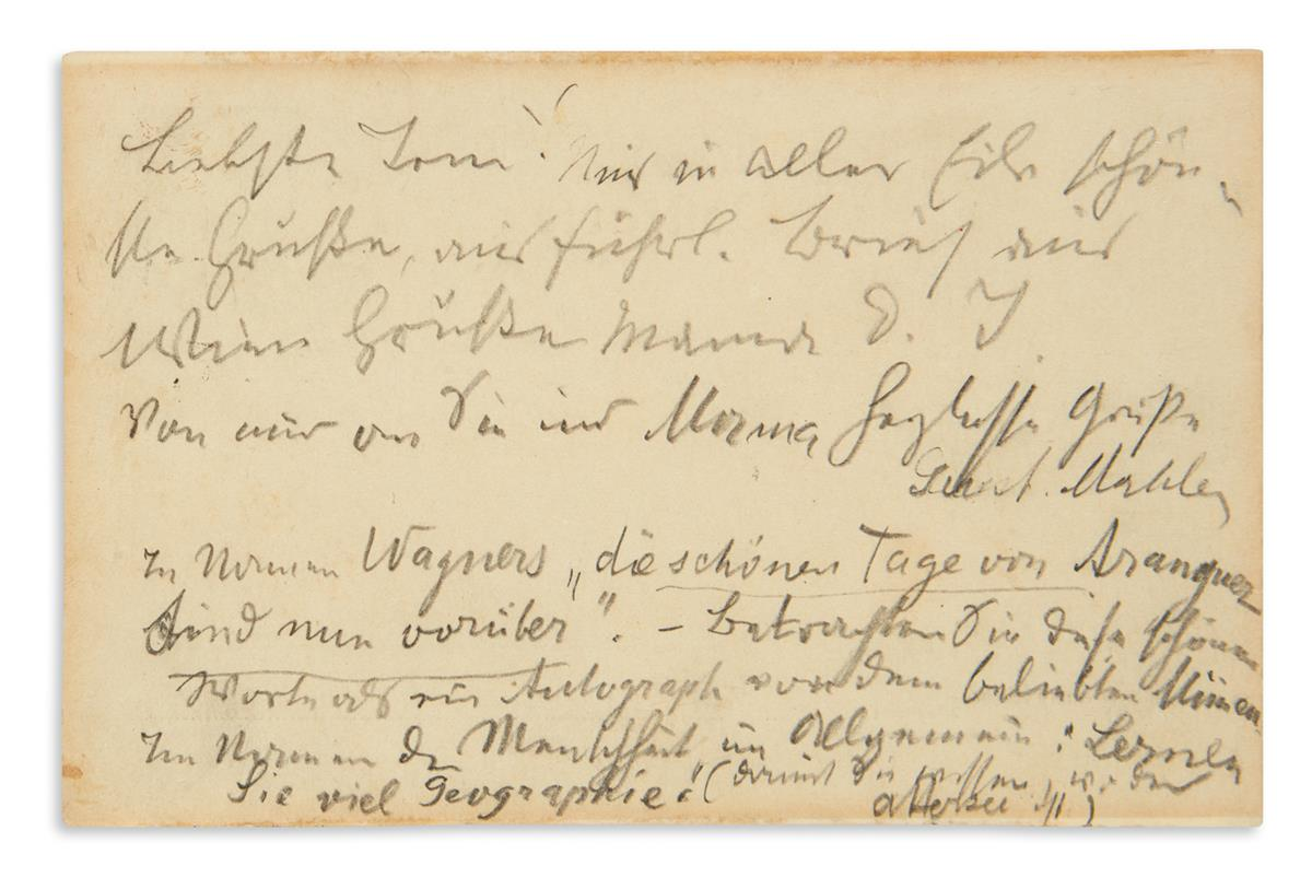 MAHLER, GUSTAV. Autograph Note Signed, Gust. Mahler, to Toni Marcus, in German, in pencil, on a postcard,