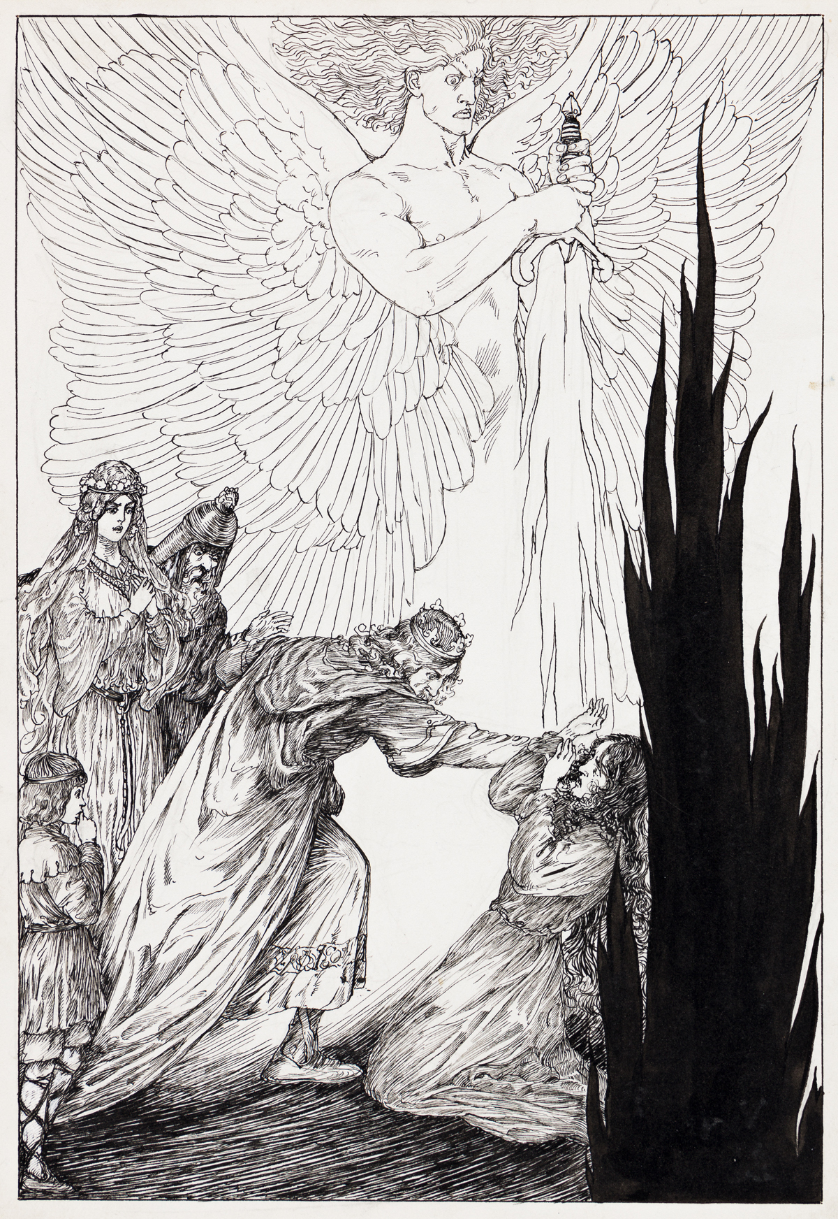 WILLY POGÁNY (1882-1955) And suddenly in wrath the King hath seizd the dark witch-wife and hurld her from his path.