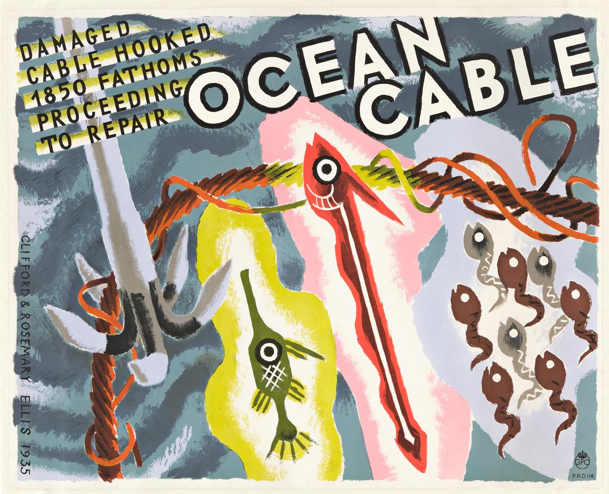 CLIFFORD ELLIS (1907-1985) & ROSEMARY ELLIS (1910-1998).  OCEAN CABLE. 1935. 19½x24¼ inches, 49½x61½ cm.