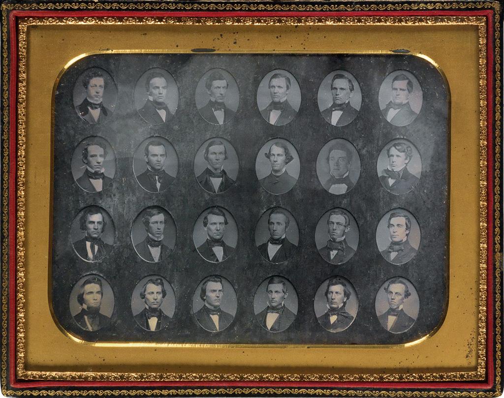 (HARVARD) JOHN ADAMS WHIPPLE (1822-1891) Pair of whole-plate daguerreian composites of students said to be graduates of Harvard Medical