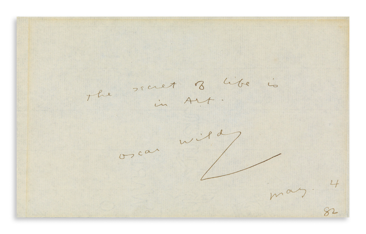 OSCAR WILDE (1854-1900) Autograph Quotation dated and Signed: