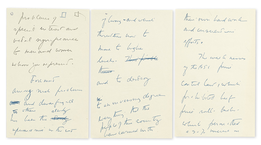 KENNEDY, JOHN F. Autograph Manuscript, unsigned, 14-page fragment of early draft for the speech he delivered to the 66th Annual Convent