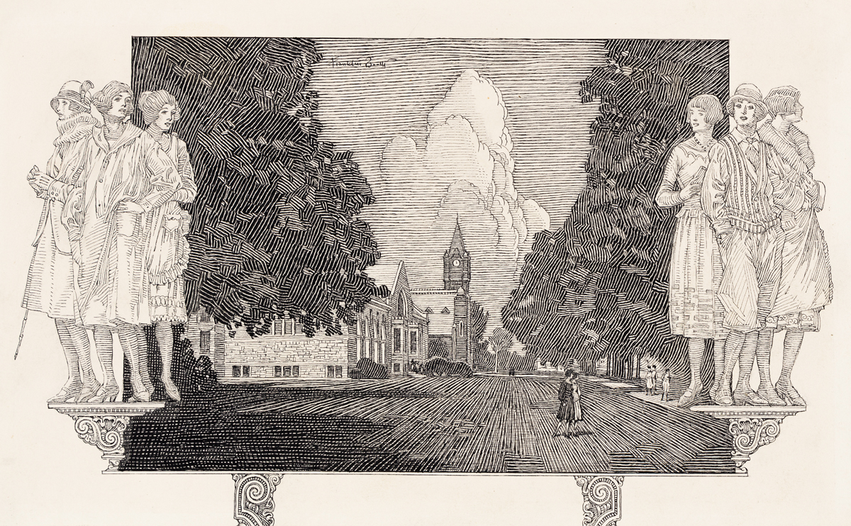 """FRANKLIN BOOTH (1874-1948) """"Mount Holyoke College Today."""""""