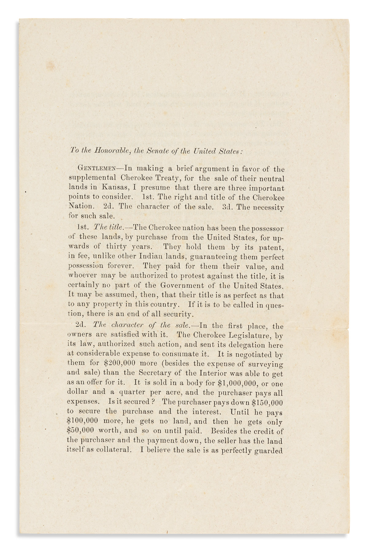 (AMERICAN INDIANS.) William A. Phillips. Defense of the Cherokee Nations right to sell land in Kansas.