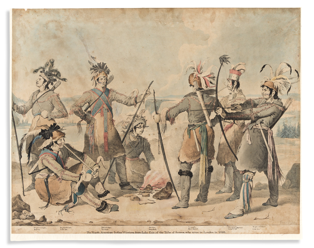 (COMMERCE & EXPANSION.) Denis Dighton; lithographer. The North American Indian Warriors, from Lake Erie, of the Tribe of Seneca,